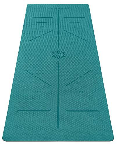 Ewedoos Yogamatte rutschfest mit Ausrichtungslinien umweltfreundliches TPE Yogamatten mit Tragegurt Ideal Yoga Mat Übungsmatte für Yoga Pilates Fitness (Dunkelgrün)