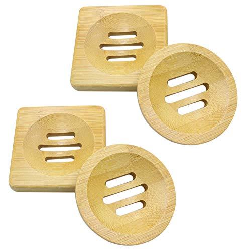 Handgemachte Seifenschale, 4 Stück Bambusseifenhalter aus Naturholz, rechteckige Waschtisch-Seifenkiste für die Baddusche, Seifenablage, Pop-up-Handseife für Seifenschwamm-Badzubehör für den Haushalt