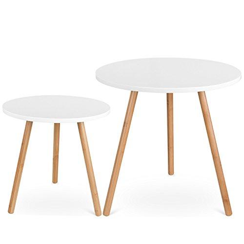 Homfa 2x Beistelltisch weiß Set Couchtisch rund Wohnzimmertisch holz hochglanz skandinavisch Konsolentisch Kaffeetisch Satztisch groß(50x50x50cm) klein(40x40x40cm)