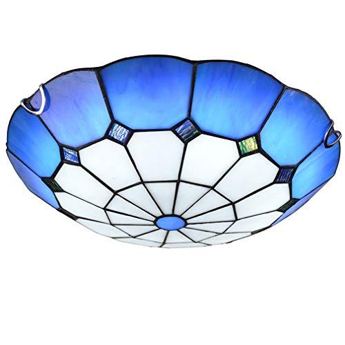 HKLY Tiffany Lámpara de Techo LED, Mediterráneo Redondo Vidrio Luz De Techo con Montura Semiempotrada Azul y Blanco Sala Cocina Dormitorio Plafón Pasillo Balcón...
