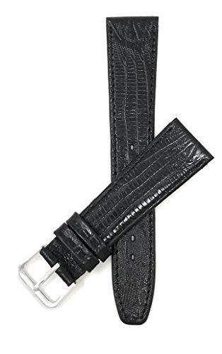 Leder Uhrenarmband 18mm, Schwarz, dünn, Eidechsenmuster, auch verfügbar in braun, hellbraun und blau