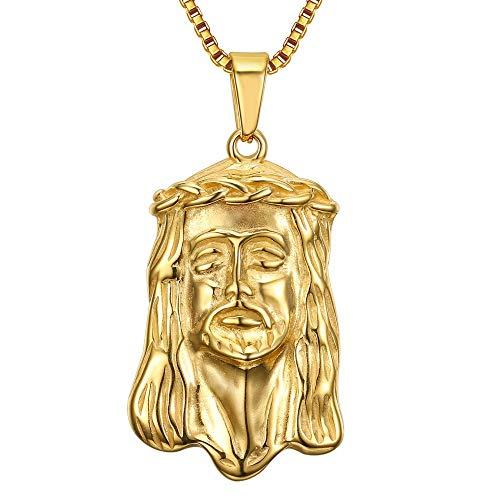 BOBIJOO Jewelry - Hanger Hoofd van Jezus met een Gouden Christus Staal Goud Gypsy Reiziger + Ketting 60cm