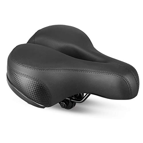 Sattel Fahrradsattel, Landnics Cityradsättel mit Druckfedern Reflektierendem Streifen Touren/Mountainbike/Rennrad für Herren und Frauen, Schwarz