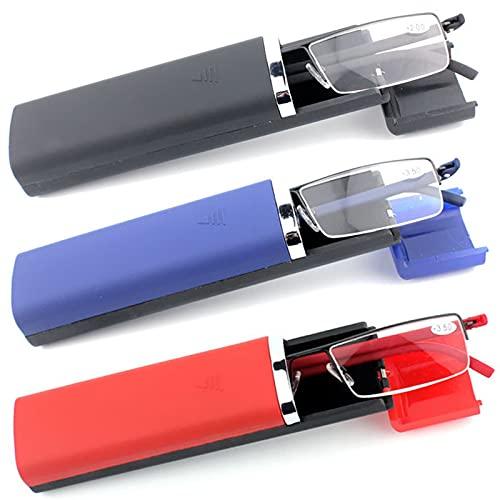 MMOWW 3 stueck tragbare Lesebrille herren damen - mit Brillenetui leichte und elegante TR90-Brille Halbrand Metallbrille(schwarz+blau+rot,+2.0)