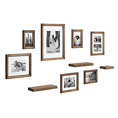 Kate and Laurel Bordeaux Gallery Wall Frame and Shelf Kit, Set of 10, Natural, Assorted Size Frames with Wood Finish and Three Display Shelves Included - SEVEN FRAMES AND THREE SHELVES: This collection creates an excellent wall display in one room or a cohesive decor theme throughout your home as separate pieces. THREE AMPLE SIZED SHELVES: Two of the Bordeaux shelves are 12 inches wide by 1 inch high by 4 inches deep, while the smallest shelf is 6 inches wide by 1 inch high by 4 inches deep VARIED FRAME SIZES: This collection includes one 11x14, two 8x10, one 7x9, two 5x7, and one 4x6 photo frames - wall-shelves, living-room-furniture, living-room - 41E5ut UC4L. SS400  -