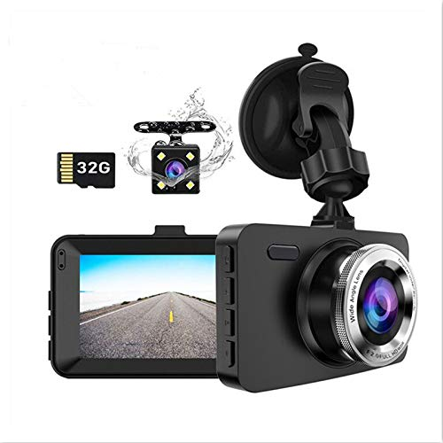 """Dash Cam Front and Rear Car Camera, Dual Lens Drive Recorder Dashcam Dashboard with SD Card, 1080P Full HD, 3.0"""" Screen, Loop Recording, G-Sensor, WDR, Night Vision, Motion Detection, 170° Wide Angle"""