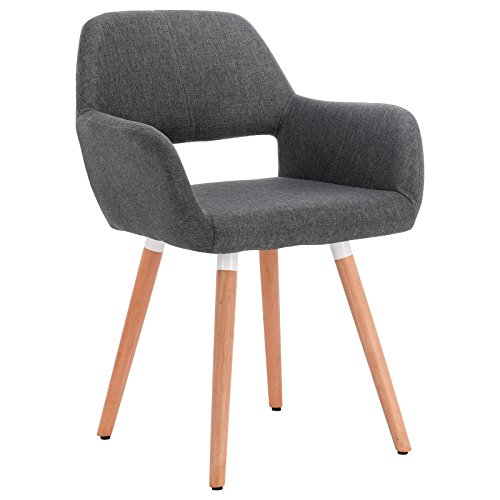 WOLTU Kitchen Dining Chair Dark Grey Kitchen Counter Office Lounge Living Room Chairs Tub Chair Armchair with Backrest & Armrests