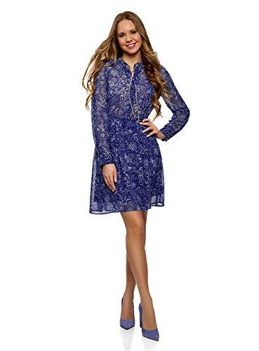 oodji Collection Mujer Vestido de Tejido Fluido con Cadenas, Azul, ES 40 / M