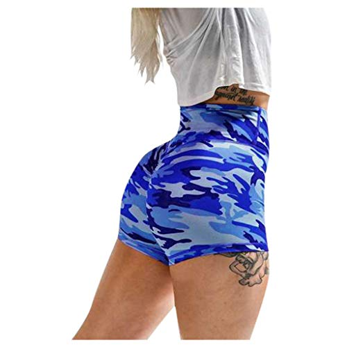 Lazzboy Damen Shorts Hotpants Fitness Kurze Leggings Yogahose Sporthose Frauen Basic Slip Bike Kompression Workout Yoga Caprihose(Blau,L)