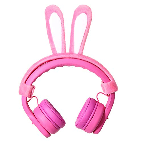Pink DIY Rabbit Ear Elesound On-Ear Wired Over Ear Kids Headphones Toddler Headphones with Microphone and Sharing Port Volume Limiting Girls Headphones for Kids Safe Durable Child Children Headphones