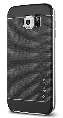 Samsung Galaxy S6 Hülle, Spigen® [Neo Hybrid] Doppelschichter Schutz [Satin Silver] 2-teilige Premium Handyhülle Schwarz Silikon TPU Schale + PC Farbenrahmen Dual Layer Schutzhülle für Samsung Galaxy S6 Case Cover - Satin Silver (SGP11320)