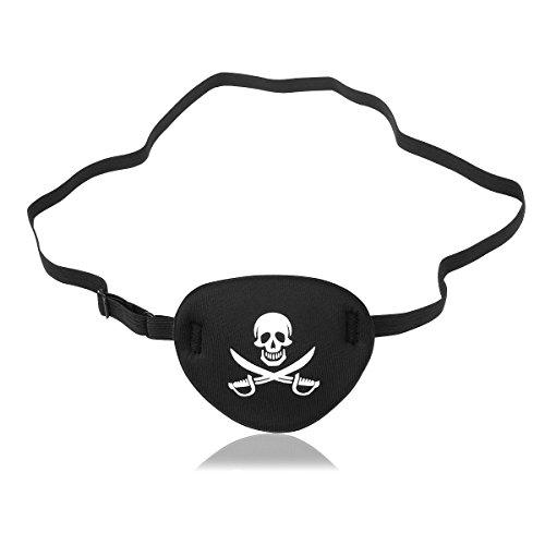 NUOLUX cráneo pirata Crossbone niños Eye Patch máscara de ojos para el ojo perezoso (negro)