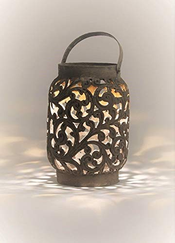 IMC Manufactoria XL windlicht groot met handvat theelichtlantaarn kaarsenhouder kaars Orient glas OVP