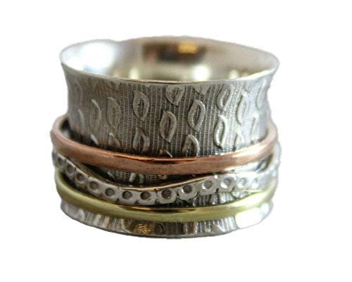 Spinning Ring Size 8 - Sterling Silver Leaf Worry Fidget Bohemian Ring - Jewelry Gift Ideas for Women