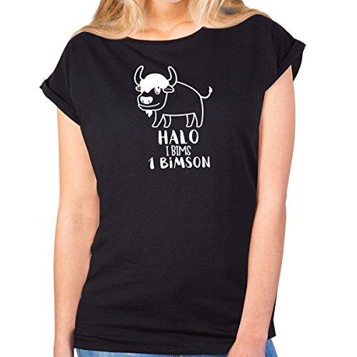 JUNIWORDS Damen T-Shirt Rolled up Sleeves - Halo i bims 1 Bimson - Wähle Größe & Farbe - Größe: XS - Farbe: Schwarz