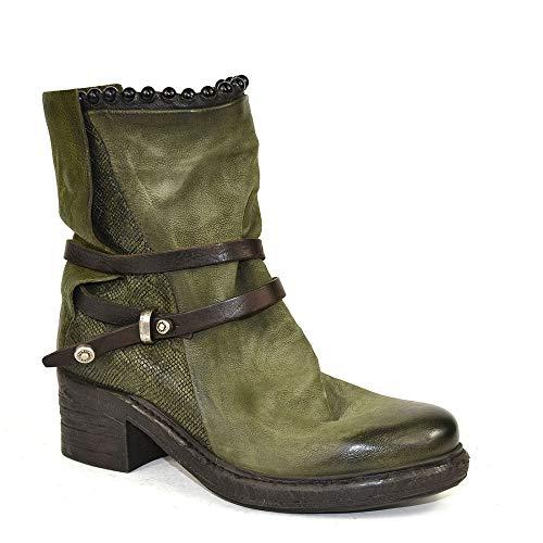 A.S.98 Airstep - Botas de piel para mujer, color caqui, color Verde, talla 35 EU