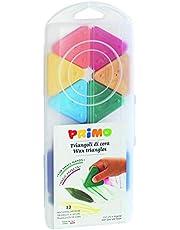 Morocolor PRIMO, wax driehoeken, 12 kleuren met goud en zilver, driehoekige wax kleurpotloden, gemakkelijke grip, wax kleuren, compact en resistente mengsel, duurzame kleur, Gemaakt in Italië