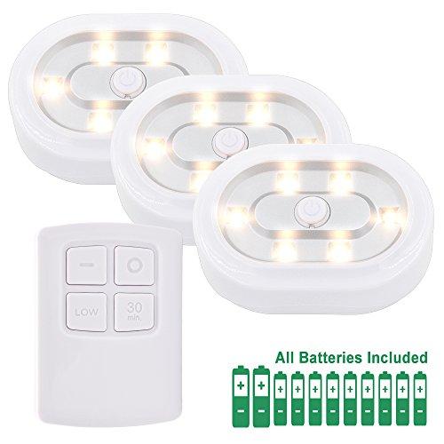 LED Schranklampen Nachtlicht Nachttischlampen LED mit Kabellos Fernbedienung und Batterien, Dimmbar und Timer Funktion Warmweiß Beleuchtung, 3er Lampen und 1er RF Fernbedienung von Enuotek