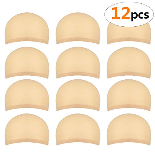 12 piezas Gorros de Peluca para Hombre y Mujer, Redecillas Casquillo de Peluca de Nylon Elástico y Delgada, un tamaño para todos (beige natural)