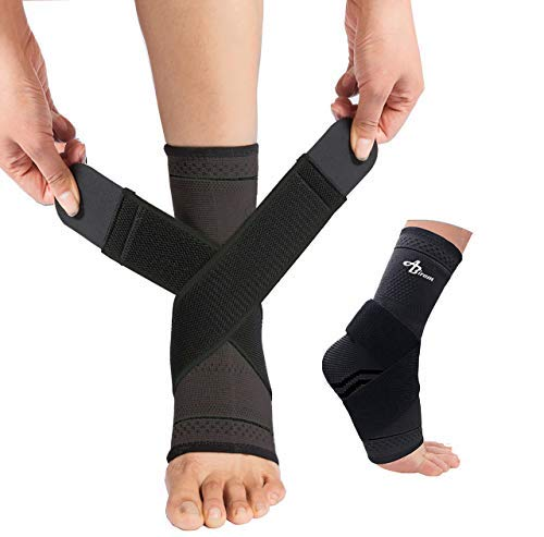 JUPITER Foot Sleeve (Pair) with Compression Wrap, Ankle Brace for Arch, Ankle Support, Football, Basketball, Volleyball, Running, for Sprained Foot, Tendonitis, Plantar Fasciitis…