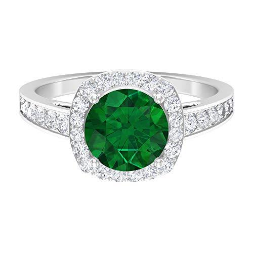 Anillo de halo solitario, piedras preciosas redondas de 2,61 quilates, diamante HI-SI de 8 mm de esmeralda, joyería de oro macizo, anillo de compromiso con ajuste de corona, oro de 18 quilates. verde