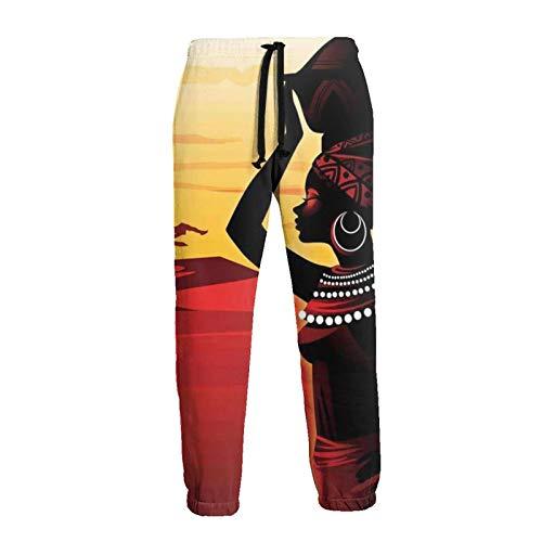 Mujer africana con la cabeza del lavabo, puesta del sol, hombres y mujeres, pantalones deportivos casuales para correr con impresión 3D, pantalones holgados con cordón