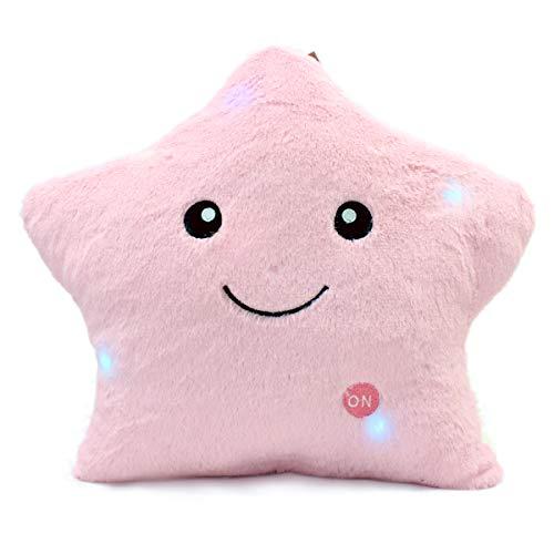 Mood Milano Kissen mit Sternenmotiv, buntes Licht, weich rosa