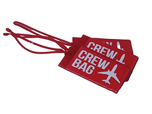 Airline Luggage Tags for Crews, Vinyl Luggage Tags, Set Of Three, Red