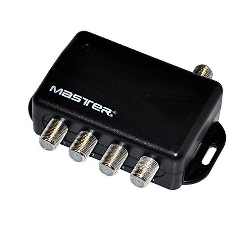 Master- Divisor, Amplificador de Audio y vídeo, Contiene eliminador de Corriente para Evitar perdida Calidad de señal y Puede conectarse hasta 4 Pantallas con una Sola señal