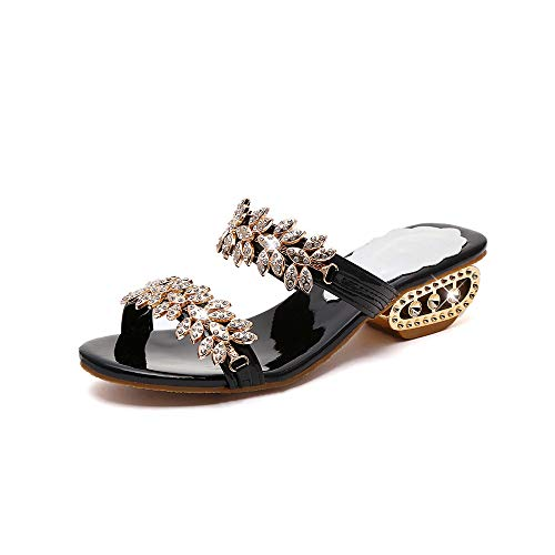 ZJMM Sandalias Y Zapatillas De Flores De Talla Grande para Mujer Negras Zapatos De Mujer con Sandalias Casuales De Tacón Grueso Informal Sandalias De Playa para Mujer