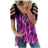 FREW Blusa para mujer, elegante, con cremallera, cuello en V, para verano, túnica suelta morado L
