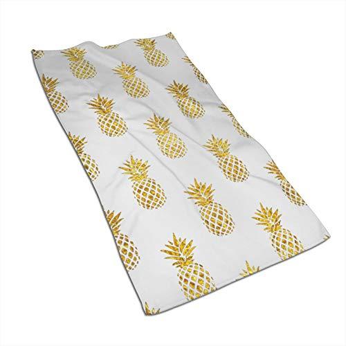 Toallas de mano Antvinoler, toallas de cocina de piña dorada de microfibra Terry para secar platos y derrames, toallas de plato para la decoración de tu cocina, 69,8 x 39,9 cm
