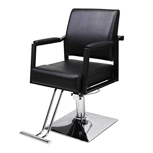 Classic Hydraulic Barber Chairs, All Purpose Hair Salon Chairs with Heavy Duty Hydraulic Pump Barber Beauty Salon Spa Equipment 360 Degrees Black