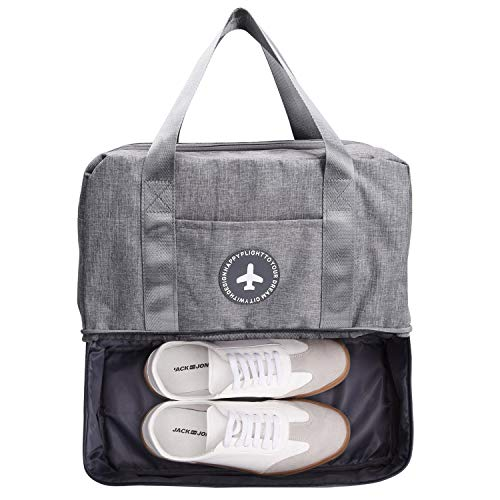 TOBWOLF Waterproof Gym Tote Bag, Sport Duffle Bag Backpack with Shoe Compartment & Wet Pocket for Men and Women