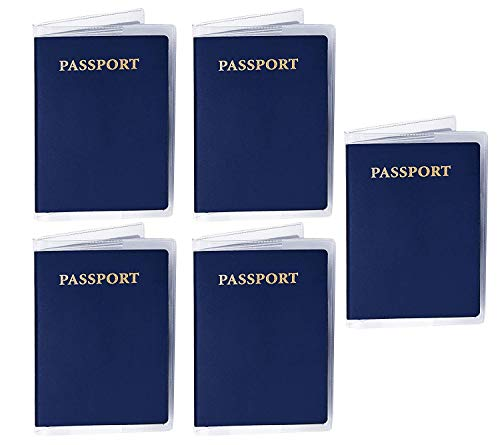 SAITECH IT 5 Pack PVC Transparent Passport Cover with Credit Id Card Holder Case Organizer Travel Protector (14 x 9.5 cm)