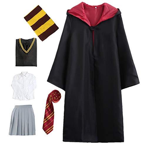 Kosplay Costume per Adulti per Bambini Costume di Harry Potter Mantello Articoli per Set di cinematografici Bacchetta Magica Cravatta Sciarpa Occhiali Carnevale Fancy Dress Halloween Nero Big Size