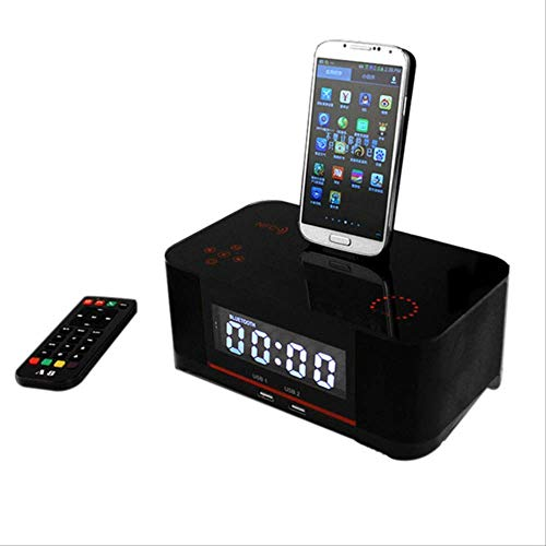 Best Buy! Touch Alarm Charger Dock Station Stereo Wireless Bluetooth Speaker with NFC Fm Radio Black...