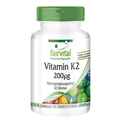 fairvital - Vitamin K2 200µg from Natural Menaquinone MK7 - High Dosage in Pure Form - 60 Tablets from fairvital