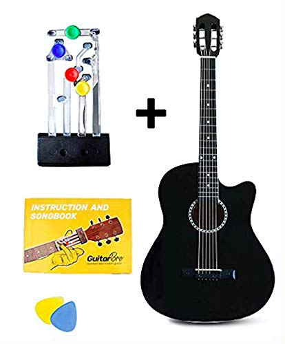 GUITAR BRO - COMBO (Black Acoustic Guitar for Beginner, Guitar Learning Kit, Song Book, Video Lectures, Accessories like Pick, Bag)
