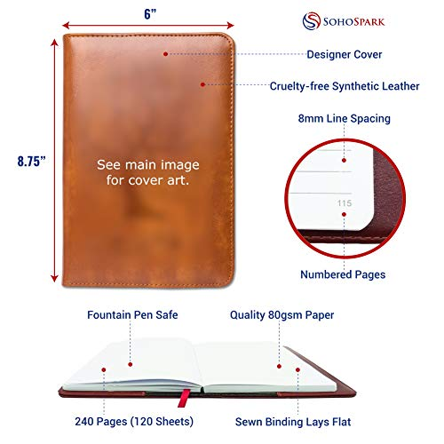 Maritime Writing Journal by SohoSpark, Refillable Faux Leather, Lined Personal Diary for Travel, 6x8.75 Notebook for Writers. Fountain Pen Safe with Lay-Flat Binding.