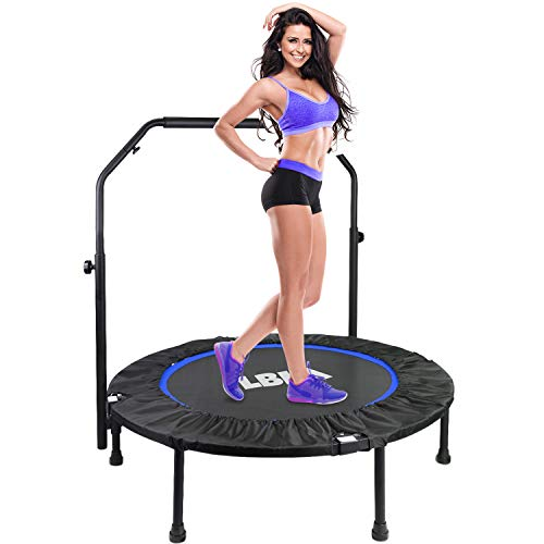 LBLA Trampolino Elastico Fitness Pieghevole Maniglia Regolabile in Altezza Mini Trampolino Adulto Interni Ø 101 cm Peso Massimo di 150 kg