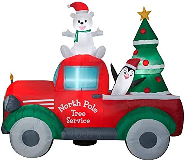 Gemmy Airblown Inflatable Retro Truck With Tree Christmas Yard Decor 9x7ft Outdoor Holiday Decoration