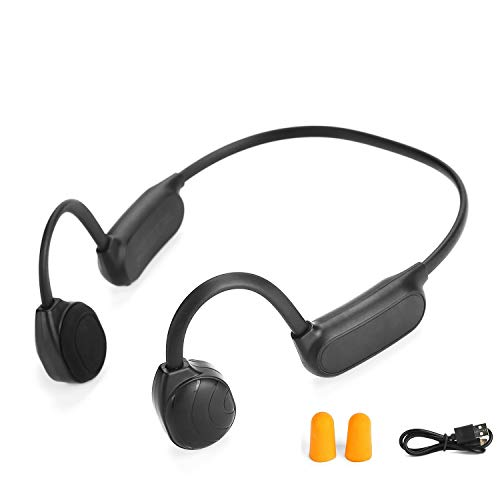 AS10 Bluetooth 5.0 Knochenleitungs-Bluetooth-Kopfhörer, Kopfhörer, kabellos, Sport-Headset, schweißfest, Geräuschreduzierung mit Mikrofon für Sport mit iOS Android (schwarz)