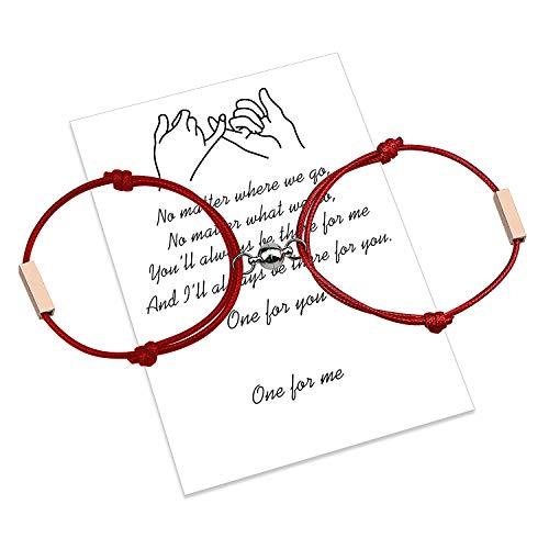 Pulsera magnética personalizada para parejas, cuerda hecha a mano de atracción mutua grabada para 2 pulseras trenzadas a juego, regalo de San Valentín (Rosso-rosso)