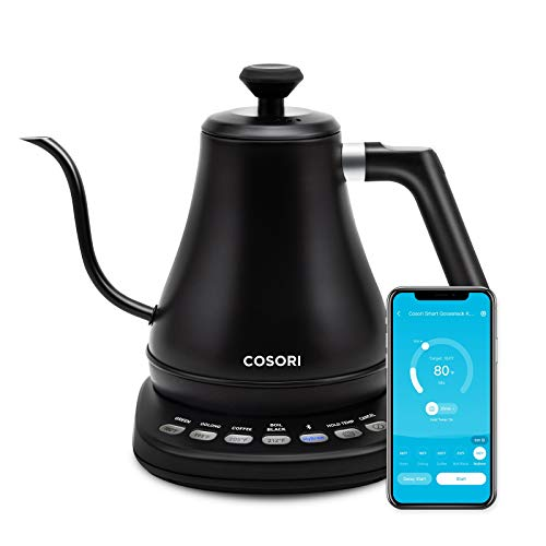 COSORI Electric Gooseneck Bluetooth with Variable Temperature Control Pour Over Coffee Kettle & Tea Kettle, 100% Stainless Steel Inner Lid & Bottom, Quick Heating, 0.8L, Smart Matte Black