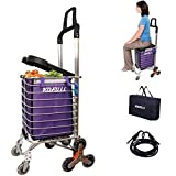 KOFULL Grocery Laundry Utility Foldable Shopping Cart, Aluminum Alloy 3-Wheel Stair Climbing with Cover (Can sit) Body Weight 220 Ib Hook Luggage Rope Storage Bag-177 Ib Capacity(Purple)