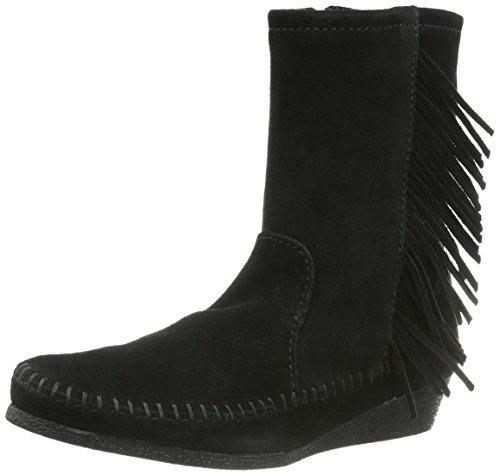 Minnetonka - Side Fringe Wedge Boot - Unlined Moccasin Bottes Bottines et Chaussons Shaft femme, Noir (Black - Black), 4