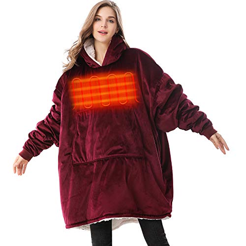 Venustas Heated Wearable Blanket Hoodie with Battery Pack 7.4V, Oversized Sherpa Blanket Hoodie Sweatshirt are Unisex, Cozy Warm Soft, One Size Fits All (Red Wine)