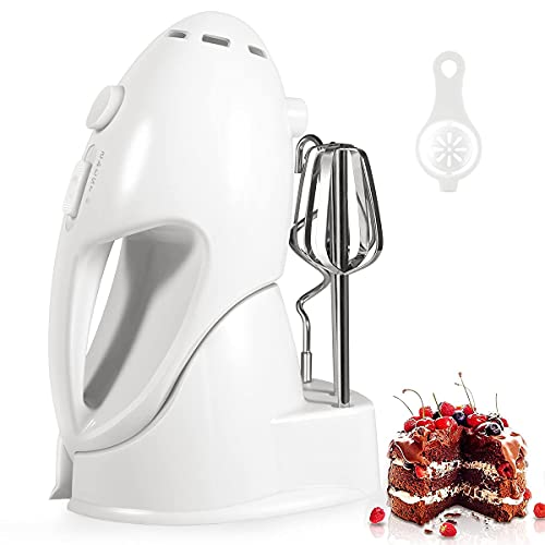 Hand Mixer Electric, 5 Speed Handheld Mixer with 4 Stainless Steel Attachments and Storage Base, Electric Mixer for Cakes, Cookies, Cream, Batters (Renewed)