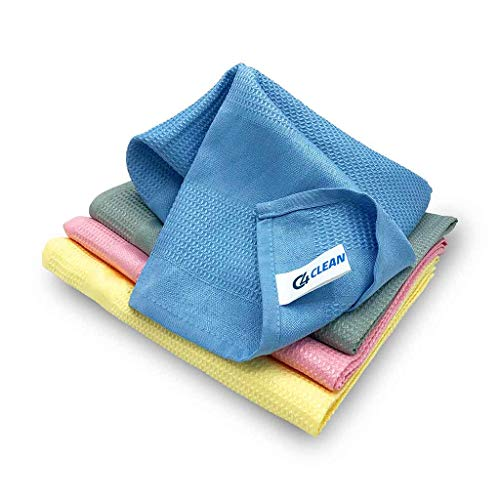 4Clean® Lot de 4 chiffons de nettoyage en microfibre ultra...